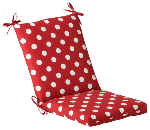 """Red and White Polka Outdoor Patio Furniture Corner Chair Cushion 36.5"""" - IMAGE 1"""