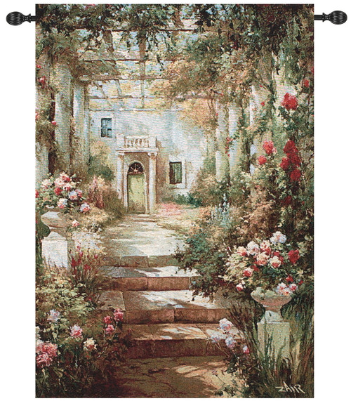 """Green and Ivory Summer Garden Pergola Wall Art Hanging Tapestry 47"""" x 35"""" - IMAGE 1"""