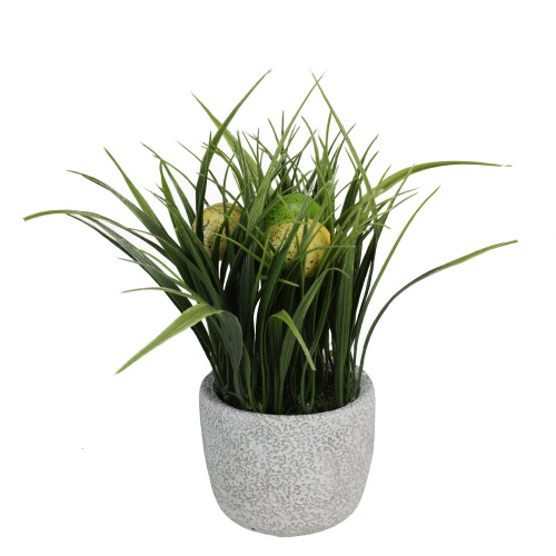"""10"""" Green and Yellow Potted Artificial Grass and Eggs Easter Decoration - IMAGE 1"""