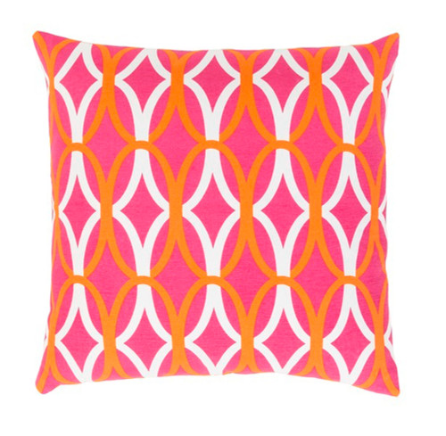 "20"" Orange and Pink Decorative Throw Pillow - Polyester Filler - IMAGE 1"