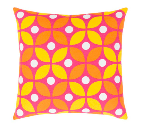 "18"" Yellow, Pink and Orange Decorative Throw Pillow - Down Filler - IMAGE 1"