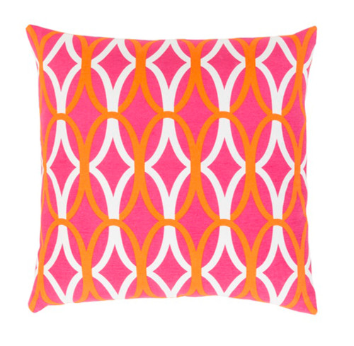 """18"""" Orange and Pink Decorative Throw Pillow - Polyester Filler - IMAGE 1"""