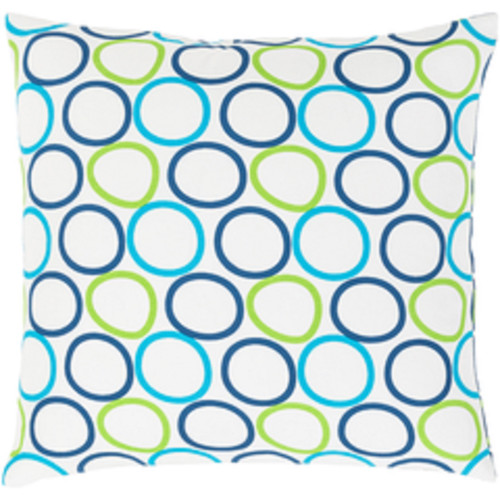 """20"""" Blue, Green and White Decorative Throw Pillow - Down Filler - IMAGE 1"""