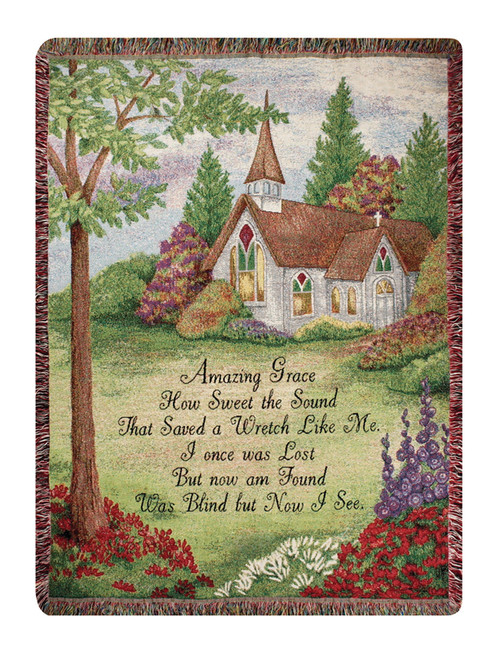 """Pastoral Church """"Amazing Grace"""" Religious Verse Tapestry Throw Blanket 50"""" x 60"""" - IMAGE 1"""