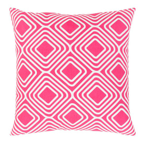 """20"""" Pink and White Decorative Throw Pillow - Down Filler - IMAGE 1"""