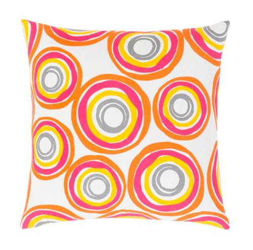 "20"" Magenta Pink, Orange and Yellow Decorative Throw Pillow - Down Filler - IMAGE 1"