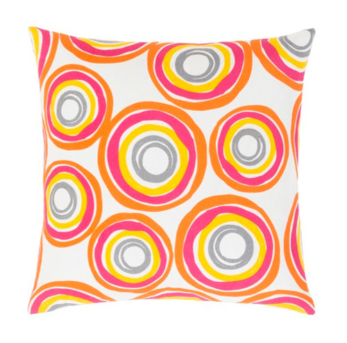 "22"" Magenta Pink, Orange and Yellow Decorative Throw Pillow - Down Filler - IMAGE 1"