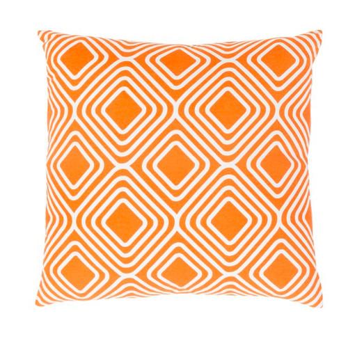 "22"" Orange and White Decorative Throw Pillow - Down Filler - IMAGE 1"
