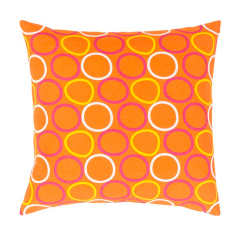 "22"" Orange, Magenta Pink and Yellow Decorative Throw Pillow - Down Filler - IMAGE 1"