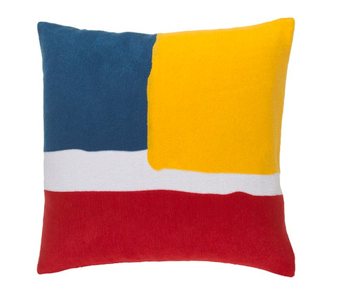"""20"""" Yellow and Blue Contemporary Square Throw Pillow - IMAGE 1"""
