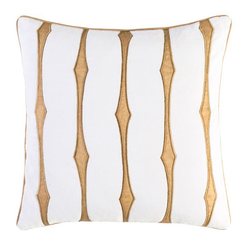 """22"""" Caramel Brown and White Decorative Throw Pillow - Down Filler - IMAGE 1"""