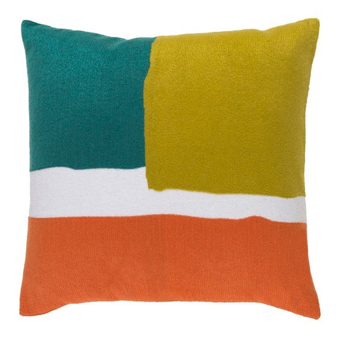 """22"""" Turquoise Blue and Orange Contemporary Square Throw Pillow - Down Filler - IMAGE 1"""