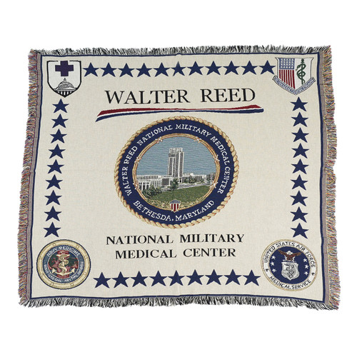 """Beige and Blue Walter Reed National Military Medical Center Throw Blanket 50"""" x 60"""" - IMAGE 1"""