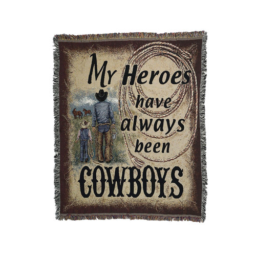 """Black and Brown Cowboy Tapestry Throw Blanket 50"""" x 60"""" - IMAGE 1"""