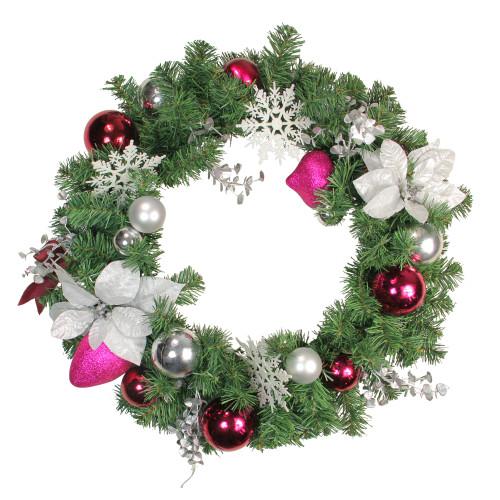 Poinsettia and Eucalyptus Artificial Christmas Wreath - 24-Inch, Unlit - IMAGE 1