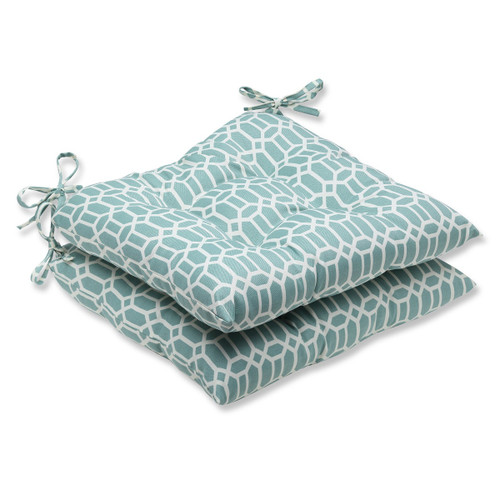 """Set of 2 Blue and White Geometric Patio Chair Cushions 19"""" - IMAGE 1"""