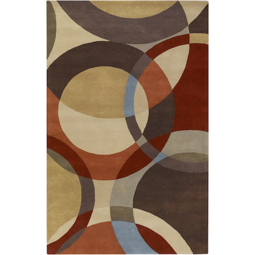 12' x 15' Green and Brown Spheres Hand Tufted Rectangular Area Throw Rug - IMAGE 1