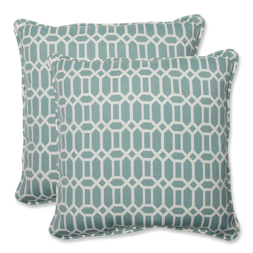 """Set of 2 Facetas Geometricas Light Blue and White Outdoor Corded Square Throw Pillows 18.5"""" - IMAGE 1"""