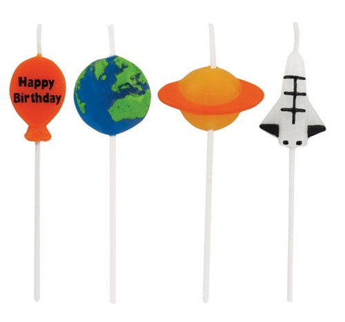 """Club Pack of 48 Orange and Blue Space Decorative Cupcake Pick Party Candles 3.25"""" - IMAGE 1"""