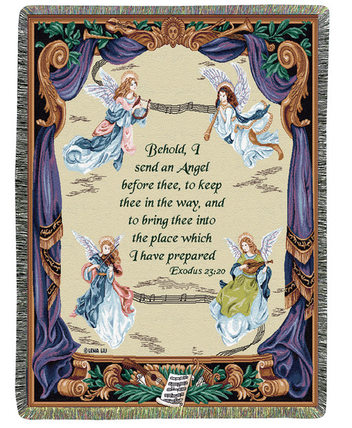 """White and Purple Angel Symphony Inspirational Bible Verse Tapestry Throw Blanket 50"""" x 60"""" - IMAGE 1"""