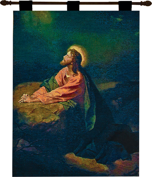 """Religious Garden of Gethsemane Cotton Wall Art Hanging Tapestry 36"""" x 26"""" - IMAGE 1"""