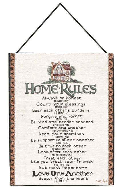 """Carole Taylor Home Rules Religious Cotton Wall Art Hanging Tapestry 13"""" x 18"""" - IMAGE 1"""
