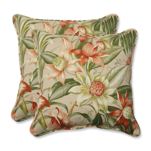 """Set of 2 Green, Tan and Coral Tropical Garden Outdoor Corded Square Decorative Throw Pillows 18.5"""" - IMAGE 1"""