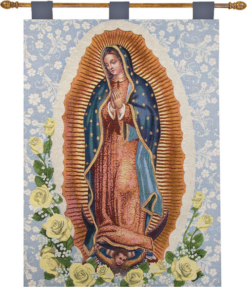 """Our Lady of Guadalupe Religious Cotton Wall Art Hanging Tapestry 26"""" x 36"""" - IMAGE 1"""
