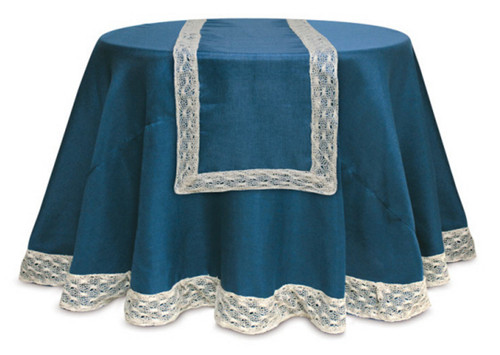 Opulent Blue and Cream Christmas Table Runner with Crocheted Edge 70 - IMAGE 1