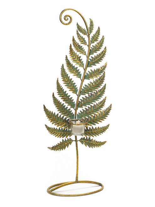 """24.5"""" Golden Patina Standing Fern with Votive Cup Table Top Decoration - IMAGE 1"""