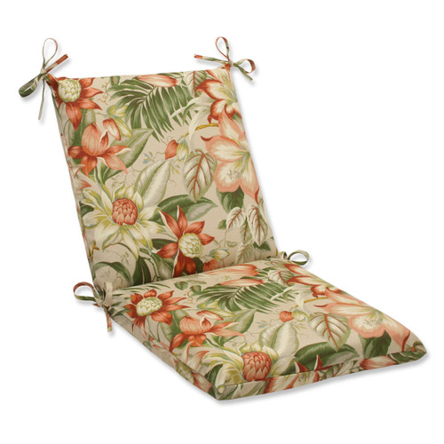"""36.5"""" Green and Red Tropical Garden Outdoor Patio Chair Cushion - IMAGE 1"""