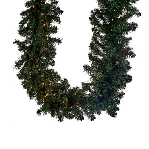 "9' x 14"" Pre-lit Vanderbilt Artificial Christmas Garland - Clear Lights - IMAGE 1"