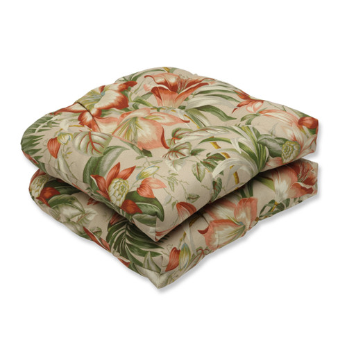 """Set of 2 Green and Red Tropical Garden Outdoor Patio Rounded Seat Cushions 19"""" - IMAGE 1"""