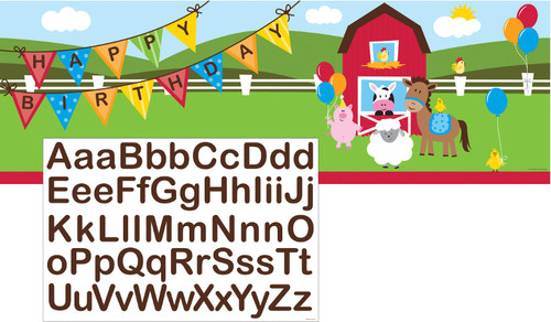 "Pack of 6 Green Farmhouse Fun Banners with Alphabet Stickers 60"" - IMAGE 1"