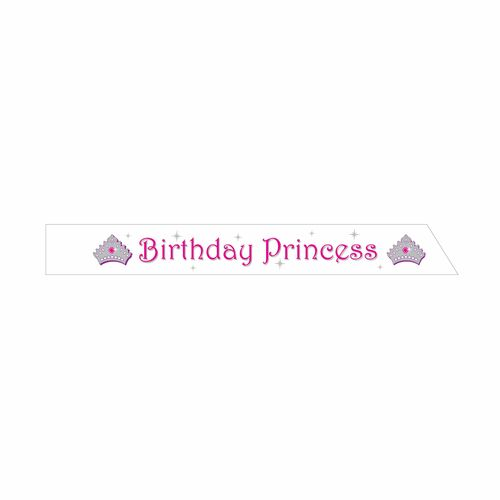 """Club Pack of 12 Pink and White """"Birthday Princess"""" Party Sashes 33.5"""" - IMAGE 1"""