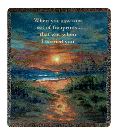 """Footprints I Carried You Inspirational Words Tapestry Blanket 50"""" x 60"""" - IMAGE 1"""
