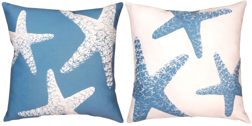 """18"""" Blue and White Starfish Outdoor Patio Square Throw Pillow - IMAGE 1"""