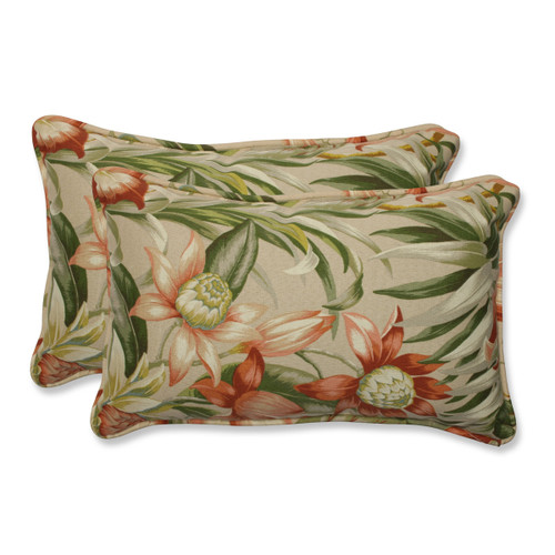 "Set of 2 Green, Tan and Coral Tropical Garden Outdoor Corded Rectangular Decorative Throw Pillows 18.5"" - IMAGE 1"