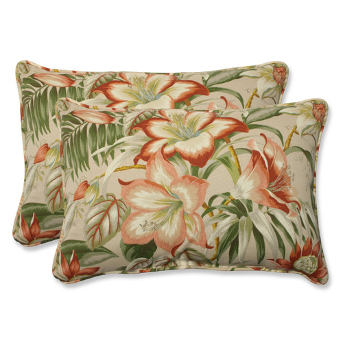"""Set of 2 Green and Red Tropical Garden Outdoor Corded Rectangular Decorative Throw Pillows 24.5"""" - IMAGE 1"""