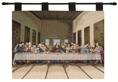 """Last Supper Religious Pictorial Cotton Wall Art Hanging Tapestry 26"""" x 36"""" - IMAGE 1"""