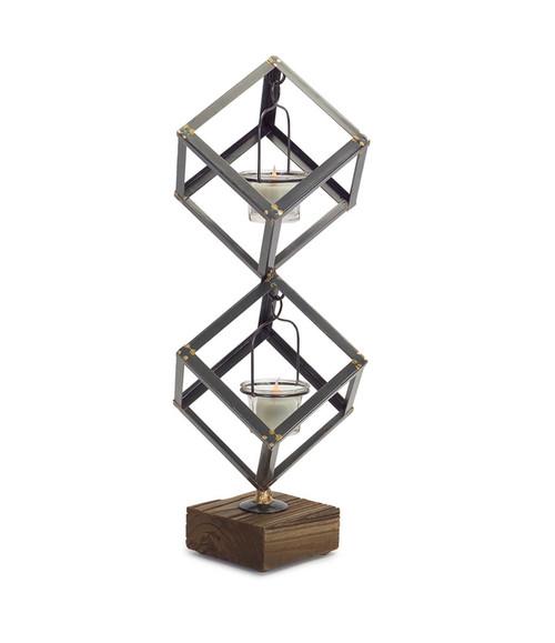 """18"""" Decorative Stacked Boxes on Wood Base Votive Candle Holder - IMAGE 1"""