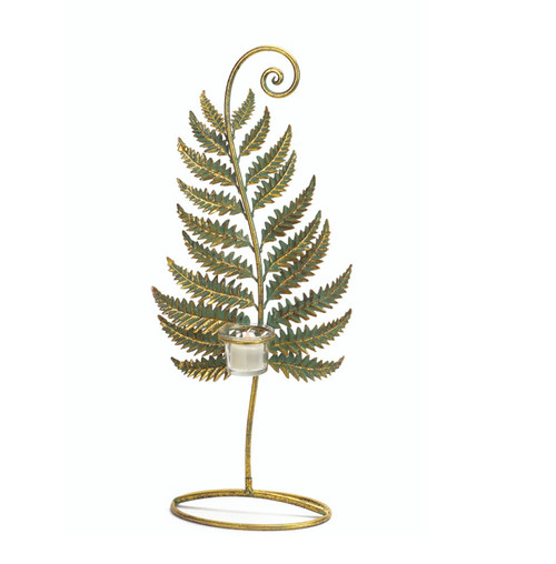 """20.75"""" Golden Patina Standing Fern with Votive Cup Table Top Decoration - IMAGE 1"""