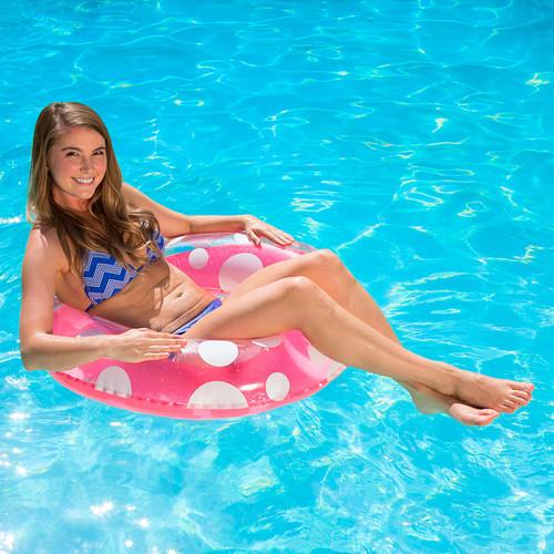 "36"" Inflatable Pink and White Polka Dot Swimming Pool Inner Tube - IMAGE 1"