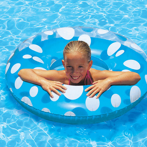 Inflatable Classic Transparent Blue and White Polka Dot Swimming Pool Inner Tube, 36-Inch - IMAGE 1