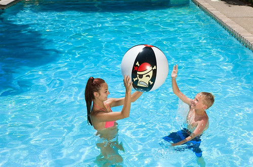 """24"""" Black and White Pirate Play Skull Design Swimming Pool and Beach Ball - IMAGE 1"""