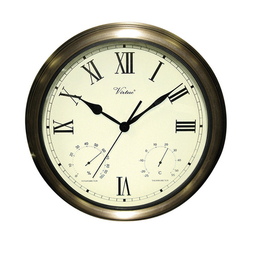 "18"" White and Bronze Battery Operated Roman Outdoor Clock - IMAGE 1"