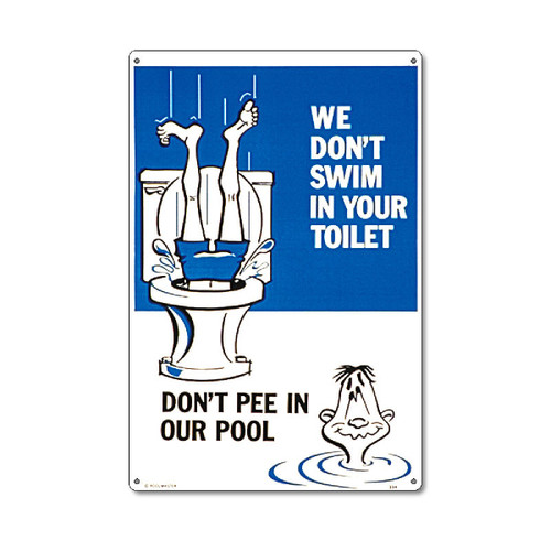 """18"""" White and Blue Funny Residential Swimming Pool Sign - IMAGE 1"""