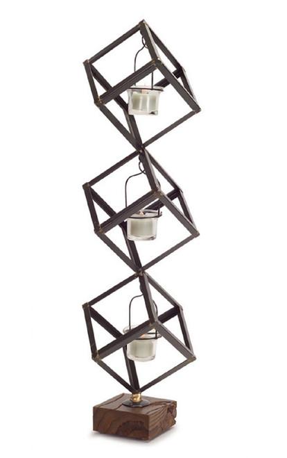 """24"""" Decorative Stacked Boxes on Wood Base Votive Candle Holder - IMAGE 1"""
