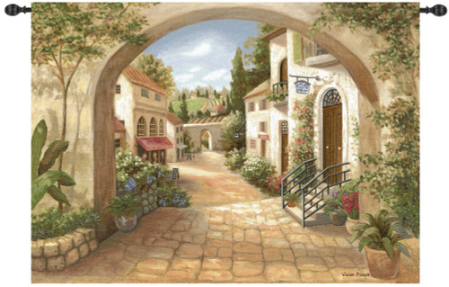 """Beige and Green Quaint Town Wall Art Hanging Tapestry 50"""" x 70"""" - IMAGE 1"""