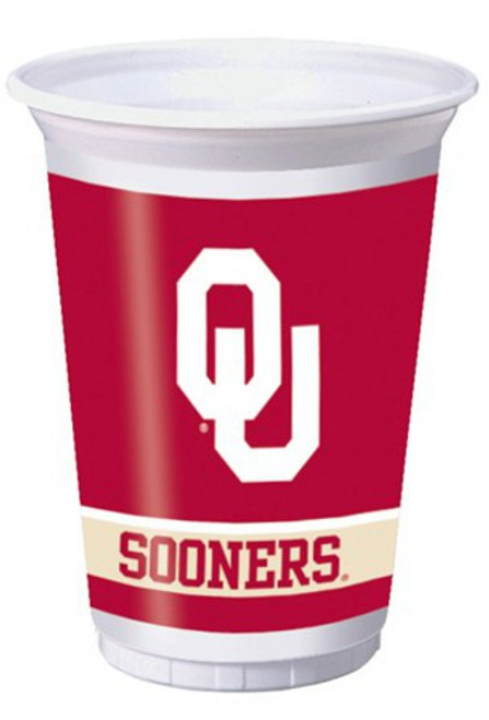 """Club Pack of 96 White and Red NCAA University of Oklahoma Sooners Drinking Tailgate Party Cups 7"""" - IMAGE 1"""
